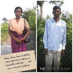 This is Hema and her husband Talat. Hema's life was full of difficulty before she came to know the Lord. She and her husband quarrelled constantly. And when her husband got angry, he would beat Hema.  But after experiencing God's love through a woman missionary, Hema's heart was filled with faith to trust Jesus with her struggles. Hema began to run to God in her pain, crying out to the Lord and praying for her husband. She thought it would be impossible for her husband to ever find freedom…