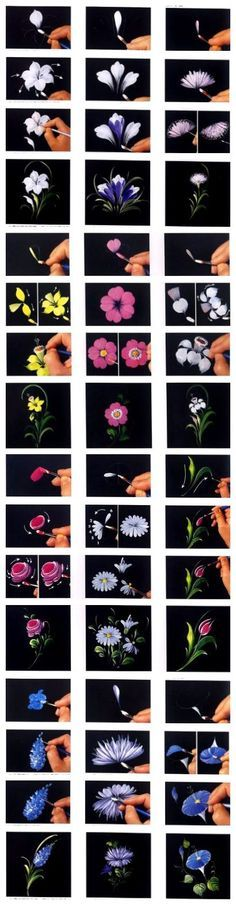 12 excelentes formas/maneras de pintar flores.