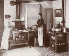 Victorian kitchen, two cook stoves! Victorian Life, Victorian Kitchen, Victorian Photos, Victorian Ladies, Vintage Pictures, Old Pictures, Old Photos, Historical Images, Historical Society