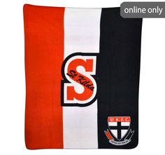 afl-team-logo-polar-fleece-printed-throw-st-kilda St Kilda, Quilt Cover Sets, Polar Fleece, Lululemon Logo, Team Logo, Printed, Logos, Duvet Cover Sets, A Logo