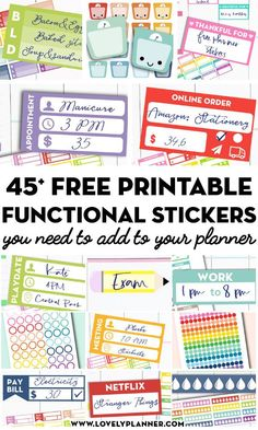 More than 45 FREE Printable Functional Planner Stickers to decorate your planner or bullet journal and get more organized! More than 45 FREE Printable Functional Planner Stickers to decorate your planner or bullet journal and get more organized! Teacher Planner Free, Free Planner, Planner Pages, Happy Planner, 2015 Planner, To Do Planner, School Planner, Passion Planner, Planner Ideas