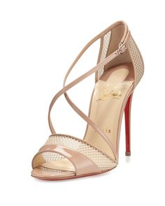 32d80a6d58fb Christian Louboutin Slikova Patent Mesh Red Sole Sandal