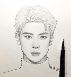 Kpop Drawings, Cool Art Drawings, Realistic Drawings, Art Drawings Sketches, Person Sketch, Desenhos Halloween, Nct, Face Sketch, Korean Art