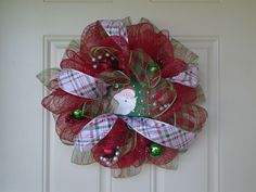 Handmade Santa HO HO HO  Reds & Greens Deco Mesh Wreath 22 inches   #LazyDaysPaintings