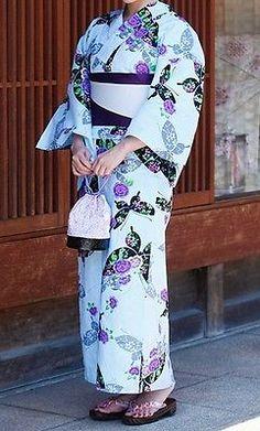 Japanese-Women-039-s-Traditional-YUKATA-KIMONO-Obi-Sandal-Set-JAPAN-10-Blue-E-a