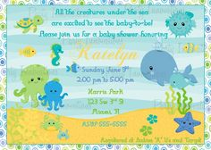 Baby Shower Invitations : Lovely And Special Designs Printable Baby Shower Invitations - The Funny Deep Blue Under The Sea Printable Baby Shower Invitation