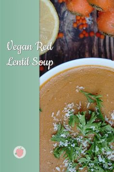 When the temperatures drop and the sweaters become thicker and thicker, then it's soup time again. 🍲Probably one of my favorite soups is the red lentil soup. It is creamy, aromatic and simply delicious!😍 #vegansoup #redlentilsoup Vegan Soup, Healthy Soup, Red Lentil Soup, Clean Eating Diet, Main Dishes, Food Dishes, Lentils, Vegan Recipes, Soups