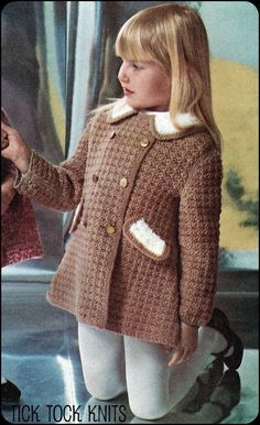 No.108 PDF Vintage Crochet Pattern Girl's Double Breasted Coat - Sizes 6, 8, 10, 12 Years Old. Etsy.