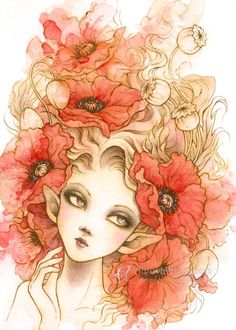 art inspo Original Art - Red Poppies - Red Poppy Elf - Free US Shipping - Ink amp; Watercolor Fantasy Illustration 5 x 7 by Mitzi Sato-Wiuff Art Inspo, Kunst Inspo, Art And Illustration, Illustrations, Fantasy Kunst, Fantasy Art, Traditional Ink, Fairy Art, Red Poppies