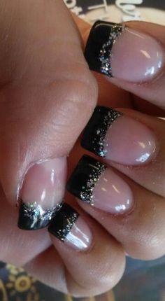 Trendy Nails Black French Tip Glitter Glitter French Tips, Glitter French Manicure, French Pedicure, Glitter Gel Nails, French Tip Nails, Fun Nails, Pretty Nails, French Manicures, Black French Nails