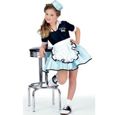 6aae545410bf Car Hop Girl Child Costume. Great for Halloween or for a 50s Sock Hop party