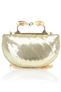 Sequin Knuckle Clutch In Gold