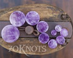 Amethyst Stone Plugs - Double Flared - 1 Pair - 6mm - 8mm - 10mm - 11mm - 12.7mm - 14mm - 16mm - 19mm - 22mm - 25mm - Organic