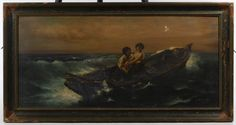 Lot 341: G. Kehn (American, 19th Century) Oil on Canvas; 1898, signed lower right, depicting a male and female in a boat sailing through choppy water; Carson Pirie Scott & Co. framing label en verso