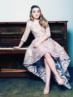 Sabrina looks beautiful, mature, and so grown up in this outfit , her makeup, and her hair!