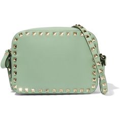 Valentino The Rockstud small leather shoulder bag (683.100 CLP) ❤ liked on Polyvore featuring bags, handbags, shoulder bags, green, valentino handbags, leather shoulder handbags, valentino shoulder bag, green leather shoulder bag and valentino purses