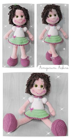 Amigurumi doll free pattern, not in English Doll Amigurumi Free Pattern, Crochet Amigurumi Free Patterns, Crochet Doll Pattern, Amigurumi Doll, Crochet Toys, Cute Crochet, Crochet Baby, Soft Dolls, Stuffed Toys Patterns
