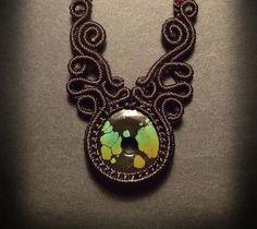 Macrame jewelry choker with turquoise centerpieceThe by Mabutirat, NT$3800.00