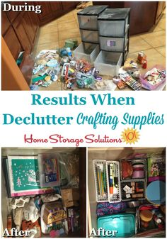 Primary Results when decluttering craft supplies featured on Home Storage Solutions 101 Variety In G Craft Closet Organization, Craft Room Storage, Pet Storage, Scrapbook Organization, Organization Ideas, Scrapbook Supplies, Craft Supplies, Office Supplies, Scrapbooking
