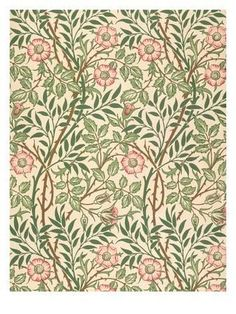The artwork 'Sweet Briar' design for wallpaper, printed by John Henry Dearle 1917 - William Morris we deliver as art print on canvas, poster, plate or finest hand made paper. William Morris Wallpaper, William Morris Art, Morris Wallpapers, Fabric Wallpaper, Of Wallpaper, Designer Wallpaper, Wallpaper Designs, Nature Wallpaper, Art Nouveau Wallpaper