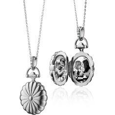 Monica Rich Kosann Monica Rich Kosann Scalloped Oval Locket with White... ($236) ❤ liked on Polyvore featuring jewelry, pendants, necklaces, locket jewelry, chains jewelry, oval locket, white sapphire jewelry and monica rich kosann jewelry