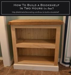 How To Build A Bookshelf In Two Hours (Or Less!) - pinning this because i like the instructions of how to add trim to a plain bookcase, I could find a very plain one and add trim like here to make it look better: