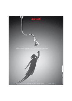 « La Luce di Artemide sa seguire le vostre aspirazioni, o Anche Anticiparle. » #Pipe luminaire, #design Herzog & De Meuron. #TheHumanLight Artemide ADV campaign, 2002.