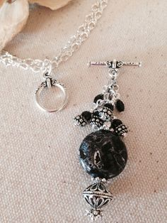 Black and White Antiqued Beaded Dangle Necklace