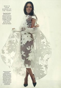 Naomie Harris wearing a top and skirt from the Spring/Summer 2014 collection in December Harper's Bazaar UK
