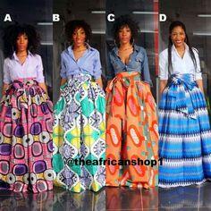 Fully lined kitenge maxi skirt. African Print Wedding Dress, African Print Skirt, African Print Dresses, African Dress, Printed Skirt Outfit, Maxi Skirt Outfits, Printed Maxi Skirts, African Inspired Fashion, Latest African Fashion Dresses
