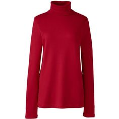 Lands' End Women's Petite Shaped Supima Turtleneck (£12) ❤ liked on Polyvore featuring tops, sweaters, red, red crop top, turtleneck sweater, cropped turtleneck, petite tops and red turtleneck