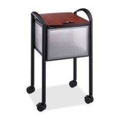 "Impromptu Locking File Cart, 20-1/4w x 21-1/2d x 30-3/4h, Black - 5374BL by Safco. $255.13. Distinctive styling complements the contemporary office. Powder coated steel frame with translucent polycarbonate panels. Accommodates letter or legal size hanging files. Hinged gray laminate cover keeps files dust-free and secure. Four swivel casters, two locking, for easy mobility. Color: Black; Caster/Glide/Wheel: Four 2 1/2"" Swivel Casters (2 Locking)."