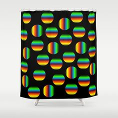Optical rainbow circles shower curtain with black background