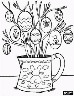 malvorlagen Ostern vase mit getrockneten zweigen geschmückt und eier ausmalbilder