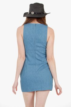 A super cool chambray shift dress with cutouts in the front and sides. Fully lined. Pair it with combat boots and a beanie for a grungy outfit. On sale for $43.40 at: http://stores.ebay.com/theofferbazaar  And,  http://theofferbazaar.net/