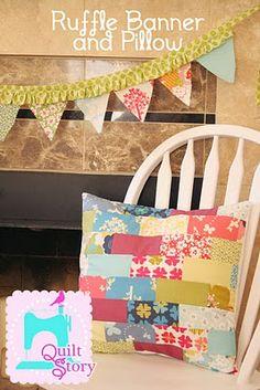 Moda Bake Shop: Ruffle Banner and Pillow (charm pack) #modabakeshop #modafabrics #lovepinwin