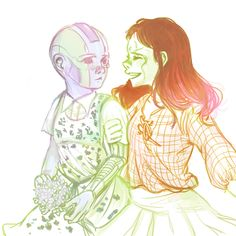 [Image: Gamora and Nebula, as adults, back to back, both holding weapons. Below, Nebula and Gamora as children; Gamora is smiling at Nebula and holding her arm. Marvel Art, Marvel Dc Comics, Marvel Avengers, Marvel Girls, Gamora And Nebula, Nebula Marvel, Marvel Funny, Marvel Memes, Avengers Memes