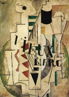 Guitar, Glass and Bottle of Vieux Marc - Pablo Picasso