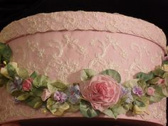 ribbonwork piece laid on lace-covered hatbox - it reminds me of a frosted cake! sooooo beautiful!  ******************************************  lambsandivydesigns via Flickr #silk #ribbon #embroidery hh