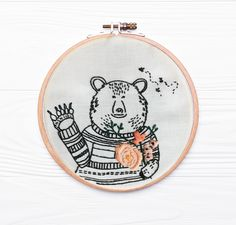 Excited to share this item from my shop: Honey bear brown bear embroidery kit wall art Embroidery Kits, Floral Embroidery, Honey Bear, Salmon Fishing, Embroidery For Beginners, Brown Bear, Rainbow Colors, Print Patterns, Scandinavian