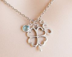silver clover Initial and birthstone necklace,lucky necklace, lucky clover necklace, for leaf clover, birthstone necklace,  SPTRIN0117