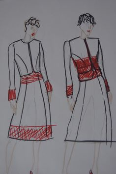 Fashion sketches for reindeer leather dress.  For photos please visit the blog. Kaavoihin kangistumatta: Onni on haikeutta ja housuja
