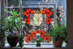 Traditional Poppy Stained Glass Window created by Neil Maciejewski 2013.  rayoflightglass.com Stained Glass Windows, Poppy, Pattern Design, Glass Art, Traditional, Texture, Create, Flowers, Plants