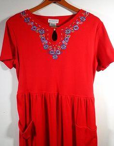 Red Maxi Dress Size 8 10 Medium Long Loose Cotton by pursenbootz, $19.99