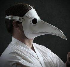 "Plague Doctor mask in white leather ""Schnabel"""