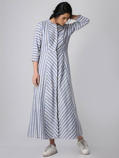 Women Dresses indian - Buy Blue Striped Paneled Button Down Cotton Khadi Maxi Dress Women Dresses Amazing Maxi Dress To InspireCheap Women S Fashion WebsitesMaxi dresses have been around since the This particular cut was said to have been the bra Cotton Dress Indian, Cotton Dresses, Kurti Neck Designs, Kurta Designs Women, Khadi, Casual Dresses, Fashion Dresses, Maxi Dresses, Modele Hijab