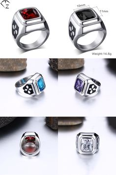[Visit to Buy] 316L Stainless Steel Cross Ring Red Crystal Blue Cubic Zircon New Fashion Wedding Rings for Men Women Jewelry USA Size 5 to 11 #Advertisement