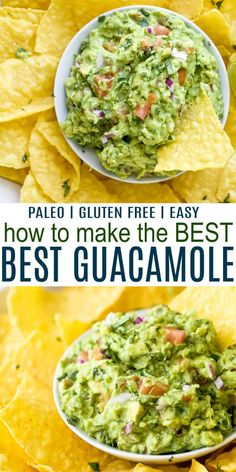 Learn How to Make the Best Guacamole Recipe that& be the hit at every party! A mix of creamy and chunky avocado with hints of jalapeño heat, juicy tomato, cilantro and zesty lime juice. Guacamole Recipe Easy, Homemade Guacamole, Avocado Recipes, Healthy Recipes, Avocado Guacamole, Simple Recipes, Enchiladas, Appetizer Recipes, Dinner Recipes