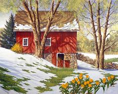 "John Sloane -- ""Spring Thaw"", with tulips pushing their way upwards in the transition of the season, blooming thru the snow."