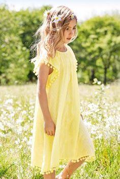 Yellow Pom Pom Trim Dress (3-16yrs) from the Next UK £18